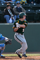 Adam Toth #15 of the Baylor Bears bats against the UCLA Bruins at Jackie Robinson Stadium on February 25, 2012 in Los Angeles,California. UCLA defeated Baylor 9-3.(Larry Goren/Four Seam Images)