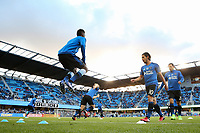 San Jose, CA - Saturday April 08, 2017: Shaun Francis, Jahmir Hyka  prior to a Major League Soccer (MLS) match between the San Jose Earthquakes and the Seattle Sounders FC at Avaya Stadium.