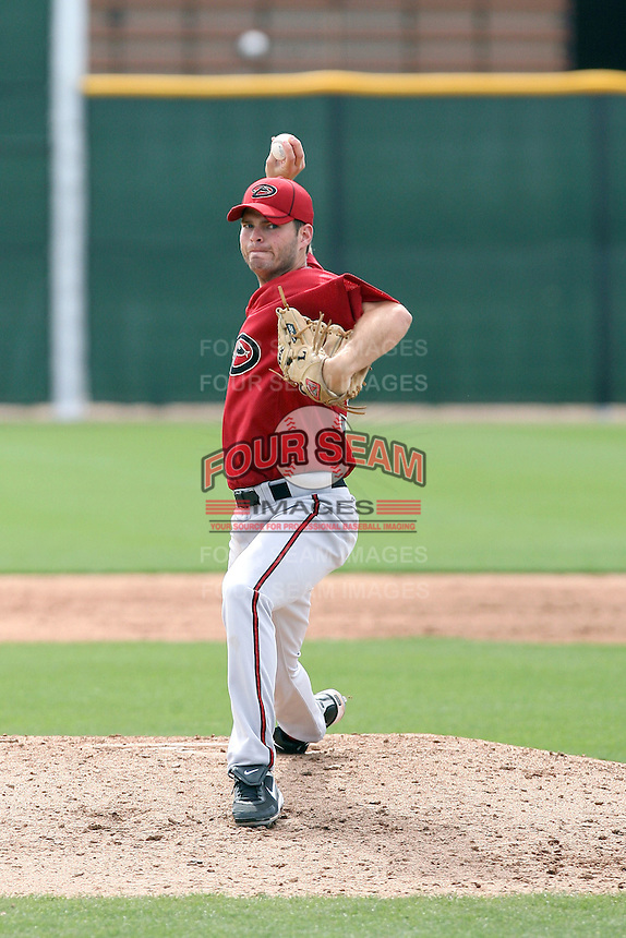 Bryan Henry #30 of the Arizona Diamondbacks plays in a minor league spring training game against the Cincinnati Reds at the Diamondbacks minor league complex on March 15, 2011  in Scottsdale, Arizona. .Photo by:  Bill Mitchell/Four Seam Images.