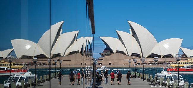 Sydney Opera House and reflection in Hyatt Hotel window, Sydney, NSW, Australia
