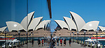 Sydney Opera House and reflection in Hyatt Hotel window, Sydney, NSW, Australia