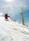 USA, Colorado, Aspen, man telemark skiing, Aspen Highlands