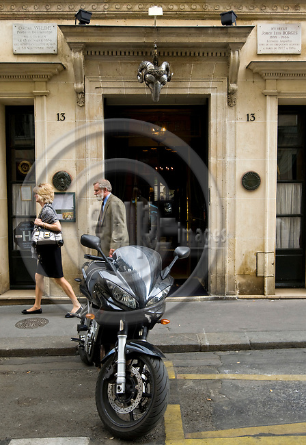 """PARIS - FRANCE - 08 MAY 2011 -- Paris travel city photos. -- The entrance of  the hotel named the """"L' Hotel"""", on Rue des Beaux Arts 13, famous for Oscar Wilde and Jorge Luis Borges staying there . -- PHOTO: Juha ROININEN / EUP-IMAGES"""