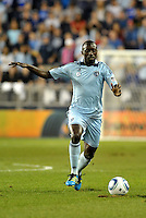 Sporting KC defender Lawrence Olum in action.. Sporting Kansas City defeat Columbus Crew 2-1 at LIVESTRONG Sporting Park, Kansas City, Kansas.