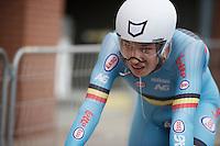 Jasper Philipsen (BEL) rolling in after his effort<br /> <br /> Junior Men TT<br /> UCI Road World Championships / Richmond 2015