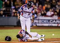 Abiatal Avelino de Dominicana se queja en el suelo de dolor luego de recibir un pelotaso en los testiculos. Partes nobles, genitales. <br /> <br /> .<br /> Partido de beisbol de la Serie del Caribe con el encuentro entre los Alazanes de Gamma de Cuba contra las &Aacute;guilas Cibae&ntilde;as de Republica Dominicana en estadio Panamericano en Guadalajara, M&eacute;xico, Lunes 5 feb 2018. <br /> (Foto: Luis Gutierrez)<br /> <br /> .<br /> Baseball game of the Caribbean Series with the match between the Gamma Alazanes of Cuba against the Cibae&ntilde;as Eagles of the Dominican Republic at the Pan American Stadium in Guadalajara, Mexico, Monday, Feb. 5, 2018.<br /> (Photo: Luis Gutierrez)