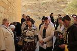 Pilgrims at the entrance of the Greek Orthodox Mar Saba monastery on the Feast of Mar Saba