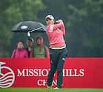 Jin Young Ko of South Korea tees off at the 17th hole during Round 3 of the World Ladies Championship 2016 on 12 March 2016 at Mission Hills Olazabal Golf Course in Dongguan, China. Photo by Victor Fraile / Power Sport Images