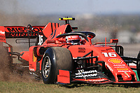 1st November 2019; Circuit of the Americas, Austin, Texas, United States of America; Formula 1 United Sates Grand Prix, practice day; Scuderia Ferrari, Charles Leclerc runs wide and kicks up grass - Editorial Use