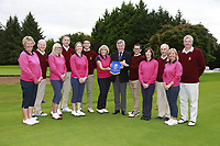 John White Hon Sec Ulster Golf presents Malone Team captains with the Ulster Mixed Penant after the final  of the Ulster Mixed Foursomes final sponsored by I need Spain at Killymoon Golf Club, Belfast, Northern Ireland. 26/08/2017<br /> Picture: Fran Caffrey / Golffile<br /> <br /> All photo usage must carry mandatory copyright credit (&copy; Golffile | Fran Caffrey)