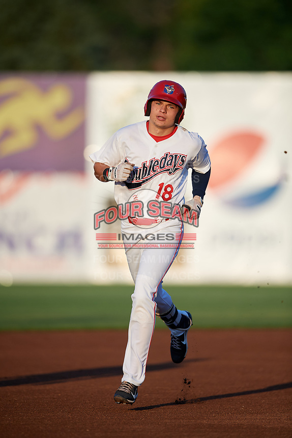Auburn Doubledays right fielder Jacob Rhinesmith (18) rounds the bases after hitting a home run in the bottom of the first inning during a game against the Hudson Valley Renegades on September 5, 2018 at Falcon Park in Auburn, New York.  Hudson Valley defeated Auburn 11-5.  (Mike Janes/Four Seam Images)