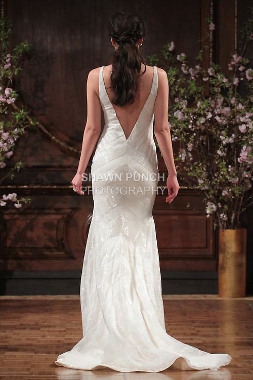 "Model walks runway in a ""Rusty"" bridal gown from the Isabelle Armstrong Spring Collection 2017, at Lotte New York Palace Hotel, during New York Bridal Fashion Week Spring Summer 2017 on April 16, 2017."