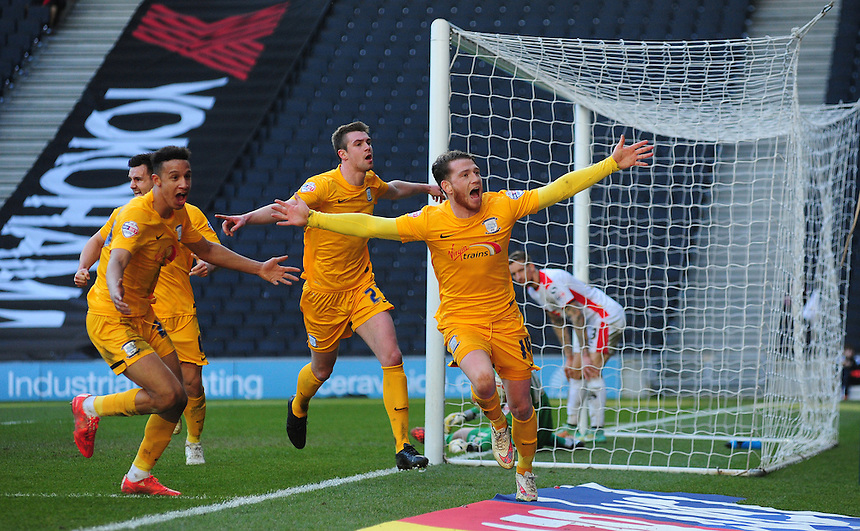 Preston North End's Joe Garner, right, celebrates scoring his sides second goal <br /> <br /> Photographer Chris Vaughan/CameraSport<br /> <br /> Football - The Football League Sky Bet League One - Saturday 7th March 2015 - Milton Keynes Dons v Preston North End - Stadium:mk - Milton Keynes<br /> <br /> &copy; CameraSport - 43 Linden Ave. Countesthorpe. Leicester. England. LE8 5PG - Tel: +44 (0) 116 277 4147 - admin@camerasport.com - www.camerasport.com