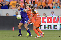 Stephanie Catley (7) of the Orlando Pride protects the ball from Kealia Ohai (7) of the Houston Dash on Friday, May 20, 2016 at BBVA Compass Stadium in Houston Texas. The Orlando Pride defeated the Houston Dash 1-0.