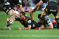 5th July 2020; Hamilton, New Zealand;  Aaron Cruden reaches for the line.<br />