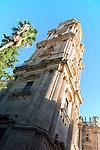 Bell tower Baroque architecture exterior of the cathedral church of Malaga city, Spain - Santa Iglesia Catedral Basílica de la Encarnación