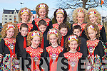 STEPPING IT OUT: Dancers from the Daly-King School of Dancing, Killarney, who competed in the All Ireland Irish Dancing Championships in the INEC Killarney on Tuesday. Front row l-r: Joanna OCallaghan, Killorglin, Katie Standen, Callinafercy, and Aoife OCallghan, Killorglin. Middle row l-r: Niamh Keane, Killorglin, Gavin McKenna, Callinafercy, Adam Fogarty, Killorglin, Malachy Moynihan, Macroom, Conor Standen, Callinafercy, and Noreen OSullivan, Glencar. Back row l-r: Grainne Moynihan, Macroom, Roisin Lucey, Two Mile, Aine McCarthy, Killarney, Kiera Carolan, Killorglin, and Casey OConnor, Killorglin.