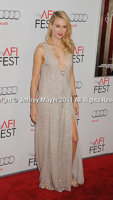 "HOLLYWOOD, CA - NOVEMBER 03: Naomi Watts  attends AFI Fest 2011 Opening Night Gala World Premiere Of ""J. Edgar""at Grauman's Chinese Theatre on November 3, 2011 in Hollywood, California."