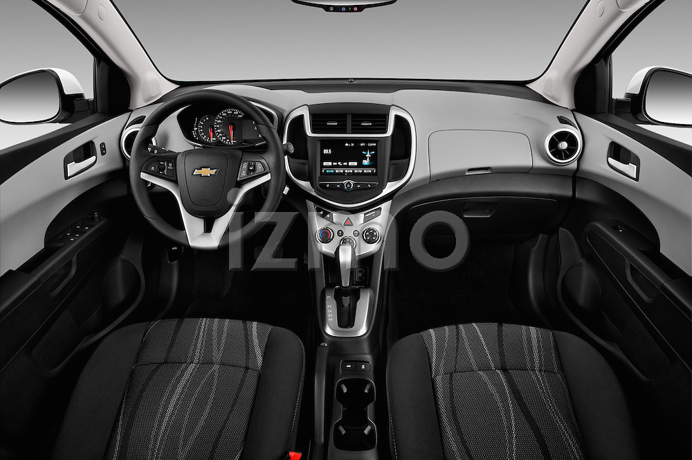 Stock photo of straight dashboard view of 2017 Chevrolet Sonic LT 4 Door Sedan Dashboard