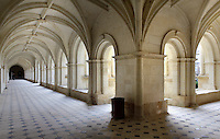 The Great Cloister, Fontevraud Abbey, Fontevraud-l'Abbaye, Loire Valley, Maine-et-Loire, France. The four Renaissance cloisters were built in the 16th century, the covered arcades have rib vaulted ceilings and tiled floors. This is the Grand-Moutier cloister, built to house virgin nuns. The abbey was founded in 1100 by Robert of Arbrissel, who created the Order of Fontevraud. It was a double monastery for monks and nuns, run by an abbess. The order was dissolved during the French Revolution and the building subsequently used as a prison. Picture by Manuel Cohen