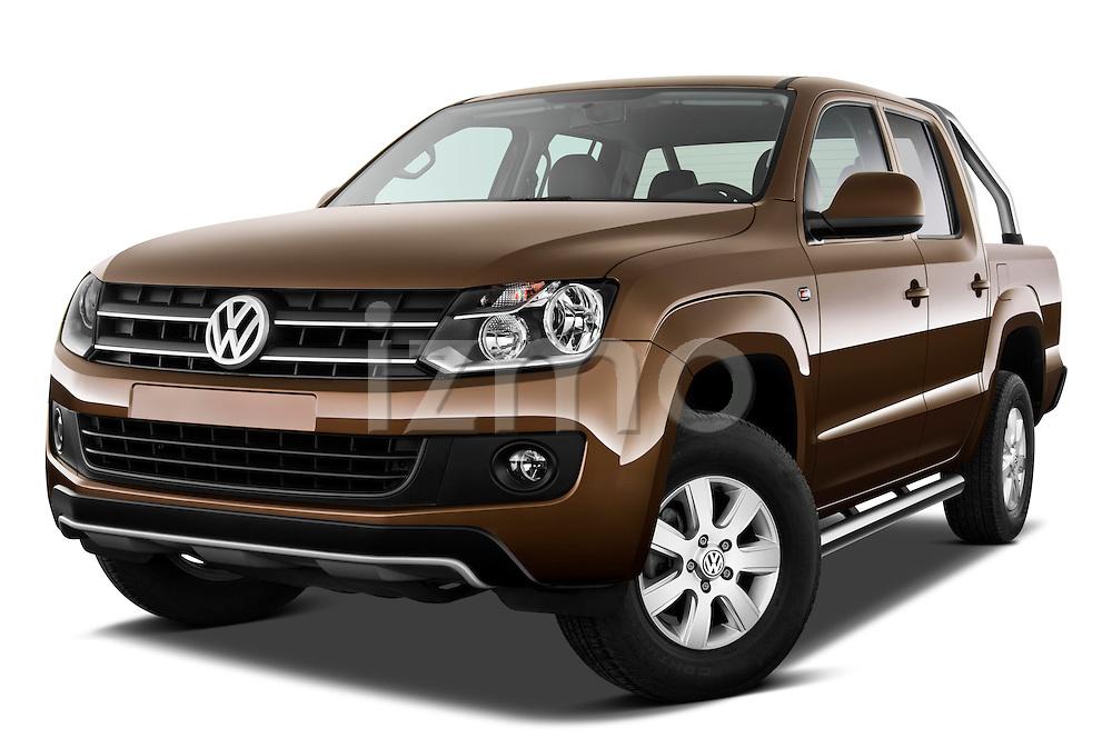 Low aggressive front three quarter view of a 2012 Volkswagen Amarok Trendline Truck .