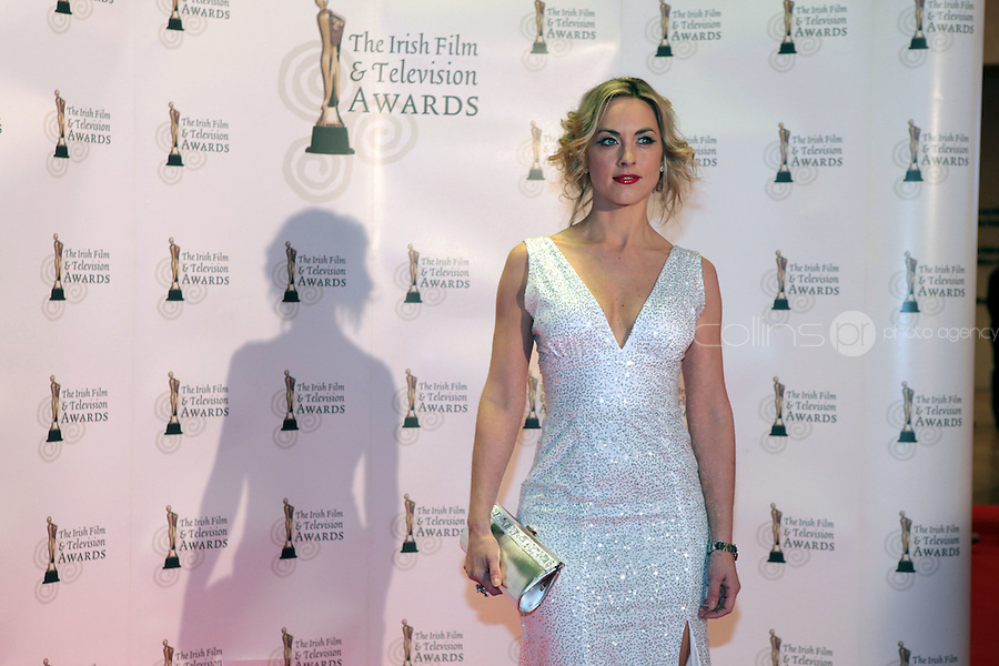 12/2/11 Kathryn Thomas on the red carpet at the 8th Irish Film and Television Awards at the Convention centre in Dublin. Picture:Arthur Carron/Collins