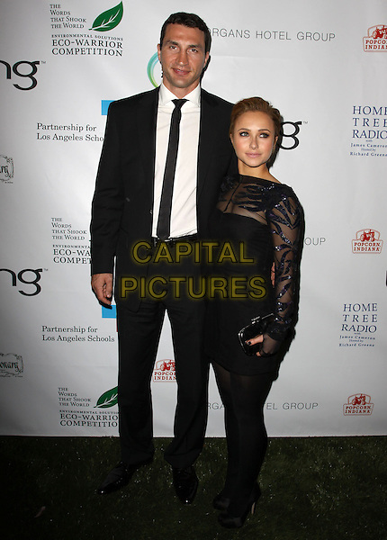 WLADIMIR KLITSCHKO & HAYDEN PANETTIERE.40th Annivesary of Earth Day held At The JW Marriott LA Live, Los Angeles, California, USA, 22nd April 2010..full length couple black suit tie white shirt tall short hair up sheer mesh see through thru dress sequined sequin tights shoes clutch bag long sleeved sleeves .CAP/ADM/KB.©Kevan Brooks/AdMedia/Capital Pictures.
