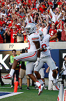 Ohio State Buckeyes wide receiver Philly Brown (10) and wide receiver Devin Smith (9) celebrate Brown's touchdown reception during the third quarter of the NCAA football game at Memorial Stadium in Berkeley, California on Sept. 14, 2013. (Adam Cairns / The Columbus Dispatch)
