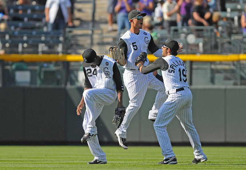 15 SEPTEMBER 2010: Colorado Rockies outfielders Dexter Fowler, Carlos Gonzalez, and Ryan Spilborghs  during a regular season Major League Baseball game between the Colorado Rockies and the San Diego Padres at Coors Field in Denver, Colorado. The Rockies beat the Padres 9-6.  *****For Editorial Use Only*****