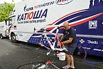Team Katusha mechanics prepare their Ridley bikes before Stage 18 of the Tour de France 2009 an individual time trial running 40.5km around Annecy Lake, France. 23rd July 2009 (Photo by Eoin Clarke/NEWSFILE)