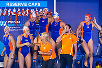 Celebration First place Netherlands Gold Medal <br /> NED - GRE Netherlands (white caps) vs. Greece (blue caps) <br /> Barcelona 27/07/2018 Piscines Bernat Picornell <br /> Women Final 1st 2nd place <br /> 33rd LEN European Water Polo Championships - Barcelona 2018 <br /> Photo Andrea Staccioli/Deepbluemedia/Insidefoto