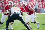 Wisconsin Badgers offensive linemen Jason Erdmann (78) and Michael Deiter (63) block during an NCAA Big Ten Conference football game against the Maryland Terrapins Saturday, October 21, 2017, in Madison, Wis. The Badgers won 38-13. (Photo by David Stluka)