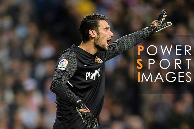 Goalkeeper Sergio Rico of Sevilla FC gestures during La Liga 2017-18 match between Real Madrid and Sevilla FC at Santiago Bernabeu Stadium on 09 December 2017 in Madrid, Spain. Photo by Diego Souto / Power Sport Images