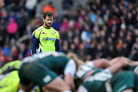 Danny Cipriani of Sale Sharks watches a scrum. Aviva Premiership match, between Leicester Tigers and Sale Sharks on February 6, 2016 at Welford Road in Leicester, England. Photo by: Patrick Khachfe / JMP