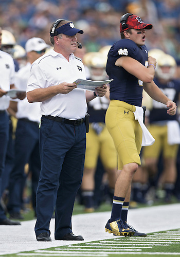 August 30, 2014:  Notre Dame head coach Brian Kelly during NCAA Football game action between the Notre Dame Fighting Irish and the Rice Owls at Notre Dame Stadium in South Bend, Indiana.  Notre Dame defeated Rice 48-17.