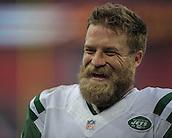 04.10.2015. Wembley Stadium, London, England. NFL International Series. Miami Dolphins versus New York Jets.  Jets' Quarterback Ryan Fitzpatrick [#14] leaves the field after Jets' 27-14 win.