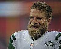 04.10.2015. Wembley Stadium, London, England. NFL International Series. Miami Dolphins versus New York Jets.  Jets' Quarterback Ryan Fitzpatrick [#14] leaves the field after Jets' 27-14 win.