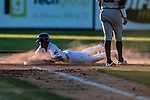 19 June 2018: Vermont Lake Monsters infielder Marcos Brito slides safely into third on a tag-up play in the 5th inning against the Connecticut Tigers at Centennial Field in Burlington, Vermont. The Lake Monsters defeated the Tigers 5-4 in the conclusion of a rain-postponed Lake Monsters Opening Day game started June 18. Mandatory Credit: Ed Wolfstein Photo *** RAW (NEF) Image File Available ***