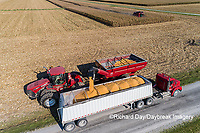 63801-12220 Unloading corn into truck during harvest-aerial  Marion Co. IL
