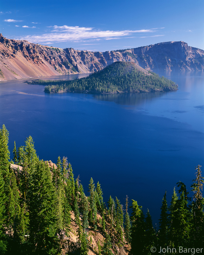 ORCL_077 - USA, Oregon, Crater Lake National Park, Crater Lake and Wizard Island with distant Llao Rock (right).