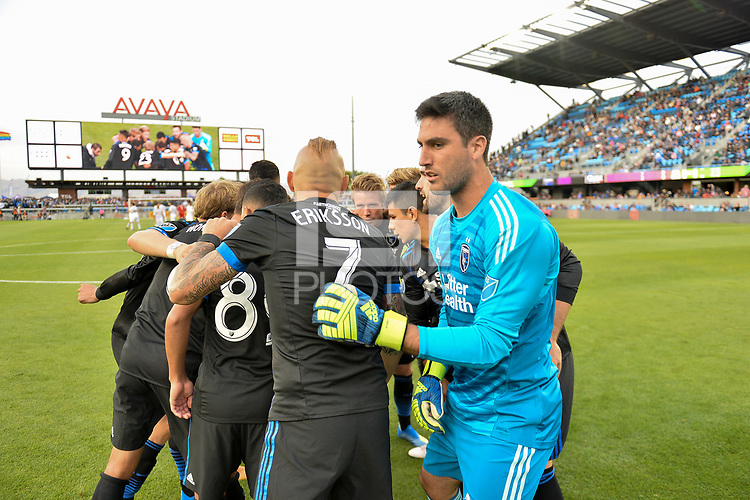 San Jose, CA - Saturday June 09, 2018: San Jose Earthquakes huddle during a Major League Soccer (MLS) match between the San Jose Earthquakes and Los Angeles Football Club at Avaya Stadium.