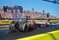 Sept. 23, 2011; Ennis, TX, USA: NHRA top fuel dragster driver Scott Palmer during qualifying for the Fall Nationals at the Texas Motorplex. Mandatory Credit: Mark J. Rebilas-