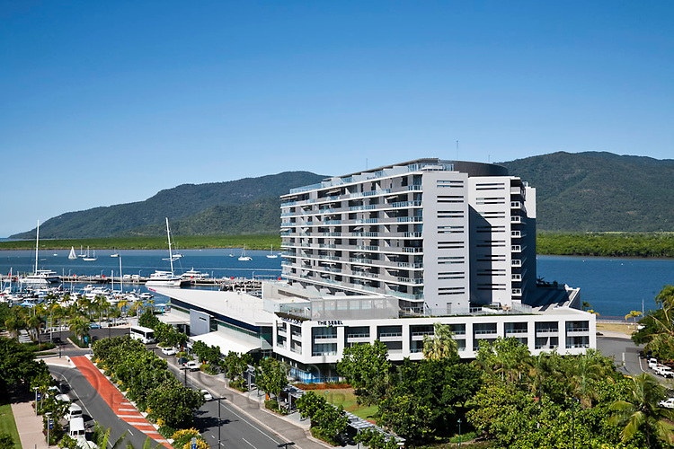Harbour Lights apartments with Marlin Marina in background.  Cairns, Queensland, Australia