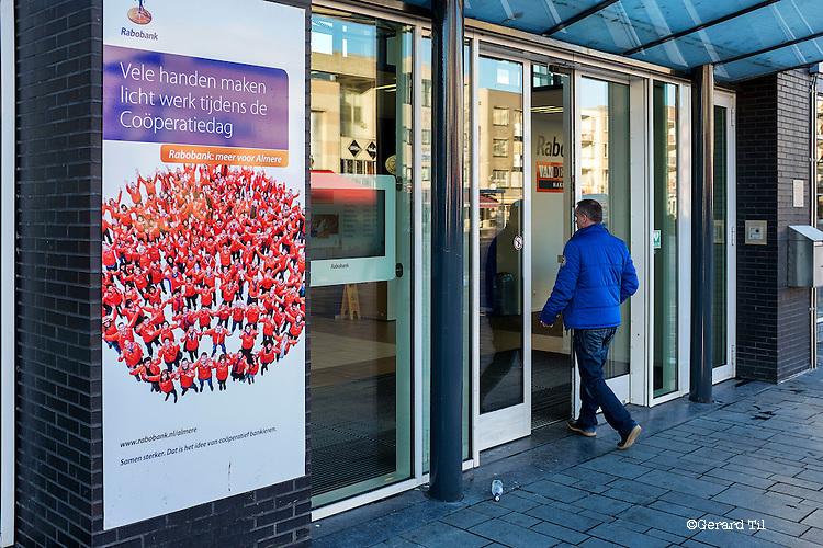 Nederland, Almere, 10-12-2013 , Banner met reclame voor de Rabobank Cooperatiedag. FOTO: Gerard Til