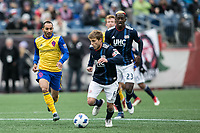 Foxborough, Massachusetts - March 10, 2018:  The New England Revolution (blue/white) beat Colorado Rapids (yellow/blue) 2-1 in a Major League Soccer (MLS) match at Gillette Stadium.