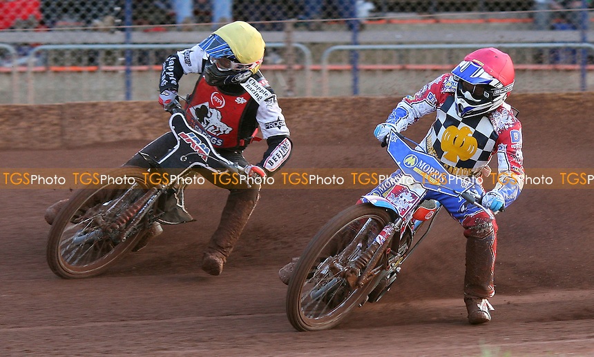 Heat 3: David Mason (red) and Karl Mason (yellow) - Hackney Hawks vs Belle Vue Colts, National League Speedway at Hoddesdon, Rye House - 30/04/11 - MANDATORY CREDIT: Rob Newell/TGSPHOTO - Self billing applies where appropriate - 0845 094 6026 - contact@tgsphoto.co.uk - NO UNPAID USE.