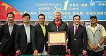 L-R: Joseph Wang, Ke Guangming, Mission Hills Vice Chairman Tenniel Chu, tennis legend Boris Becker, Hong Kong tennis association President Philip Mok, and Zhao Zhiqiang pose for a photograph during the press conference for the opening of Boris Becker Tennis Academy at Mission Hills Resort on 19 March 2016, in Shenzhen, China. Photo by Lucas Schifres / Power Sport Images