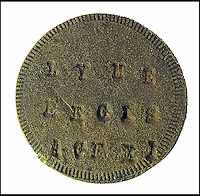 BNPS.co.uk (01202 558833)<br /> Pic: LymeRegisMuseum/BNPS<br /> <br /> A mysterious metal disc that belonged to famous fossil hunter Mary Anning as a child has been discovered on the very beach where she created the science of palaeontology over 200 years ago.<br /> <br /> The small token that bears her name and the year 1810 on one side and the words 'Lyme Regis Age XI' on the reverse was unearthed by metal detectorist Phil Goodwin in a remarkable find.<br /> <br /> Mr Goodwin, 69, was scouring the fossil-rich Dorset beach that is at the heart of Britain's Jurassic Coast for coins when he stumbled upon the disc that is smaller than a 10p piece.