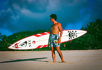 Ross Clarke Jones (AUS) with a big wave gun surfbaord on Oahu's North Shore in the late 80's. circa 1989. Photo: joliphotos.com