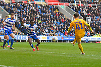 Joe Garner of Wigan Athletic right scores the second goal during Reading vs Wigan Athletic, Sky Bet EFL Championship Football at the Madejski Stadium on 9th March 2019